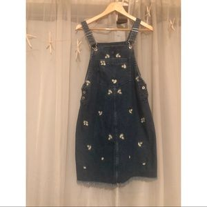 Daisy Embroidered Overall Dress